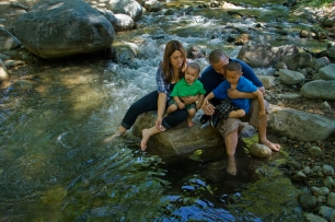 A Hispanic family recreates on the North Fork of the San Gabriel River, San Gabriel Mountains. Angeles National Forest, California.